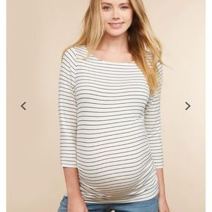 Striped Ruched Maternity Top